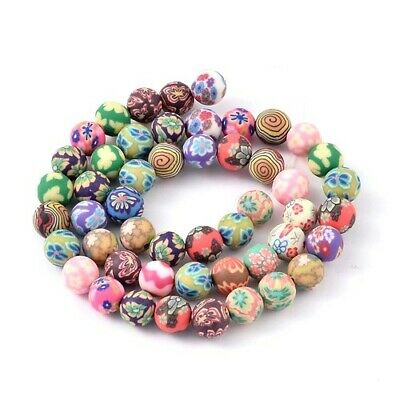 Polymer Clay Round Beads 8mm Mixed 45+ Pcs Art Hobby DIY Jewellery Making Crafts • 3.69£