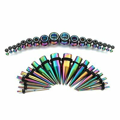 $16.99 • Buy 36pc Anodized Titanium Ear Stretching Kit Plugs & Tapers Set 14G - 00G