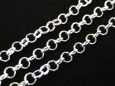 £3.59 • Buy 4 X 1 Metre Silver Plated Rolo Chain 4mm X 3mm Links Jewellery Beading I1