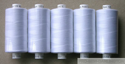 5  REELS WHITE MOON POLYESTER SEWING THREAD COTTON 120s • 6.97£