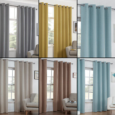 Textured Woven Plain Thermal Blockout Linen Look Pair Eyelet Ring Top Curtains • 34.99£