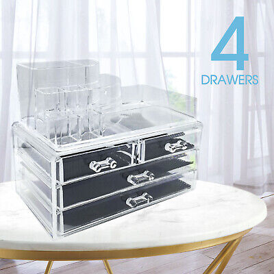 AU17.99 • Buy Cosmetic 4 Drawer Makeup Organizer Storage Jewellery Box Clear Acrylic OZ Holder