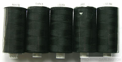 £6.99 • Buy 5 X REELS MOON BLACK POLYESTER SEWING THREADS COTTON