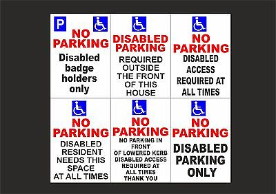 £1.89 • Buy DISABLED PARKING / ACCESS A5 Plastic Or Dibond Sign Or Sticker - 6 Designs
