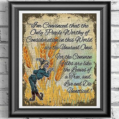 Wizard Of Oz Scarecrow Quote Vintage Dictionary Page Print Picture Wall Art • 5.99£
