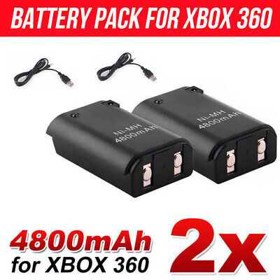 AU13.38 • Buy 2x Battery Charger Pack Wireless Rechargeable Controller USB Cable For Xbox 360