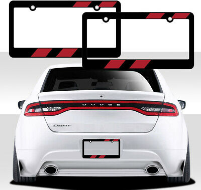 $11.14 • Buy New 2pc Elite Red Racing Stripes Car Truck Black License Plate Frames Fit DODGE