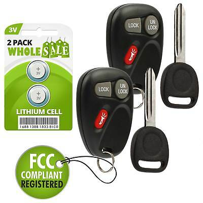 $18.88 • Buy 2 Replacement For 2001 2002 GMC Sierra Key + Fob Remote