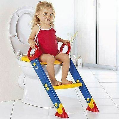 Childrens Toilet Seat & Ladder Toddler Training Step Up For Kids Easy Fold Down • 12.95£