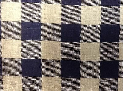 £1.99 • Buy  French Vintage Linen Gingham Check Navy Blue Grey Curtain/upholstery Fabric