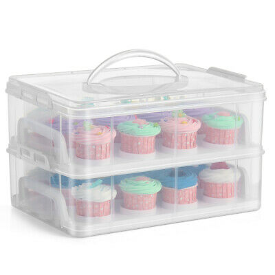 Cupcake Carrier Holder Container Box Plastic Storage Basket Taker Courier, Clear • 23.81£