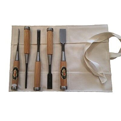 5 Piece Japanese Shirogami Chisel Set In Roll NK5R • 267£