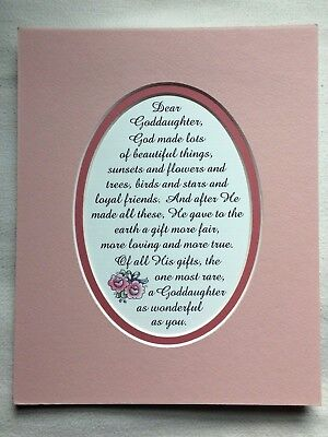 GODDAUGHTER Beautiful RARE Gift GOD MADE Loyal FRIEND Baptism Verse Poems Plaque • 10.50£