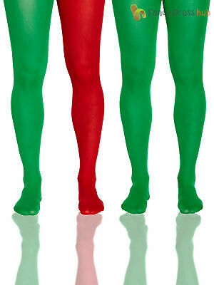 Mens Christmas Tights Adults Elf Fancy Dress Accessory Elves Hosiery Xmas Santa • 3.95£
