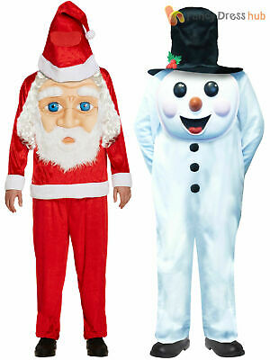 Adults Snowman Santa Claus Costume Mens Christmas Jumbo Face Fancy Dress Outfit • 16.95£