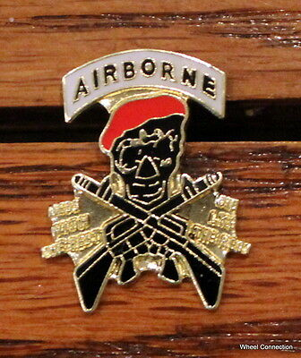 $2.99 • Buy Airborne Pin Skull Red Beret W/ Crossed Rifles Army Lapel Hat Tie Tack Military