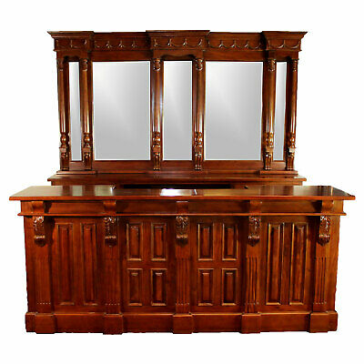 $8794.50 • Buy Home Bar Antique Front And Back Mahogany 8 Ft Wine Shop Counter Vintage Style