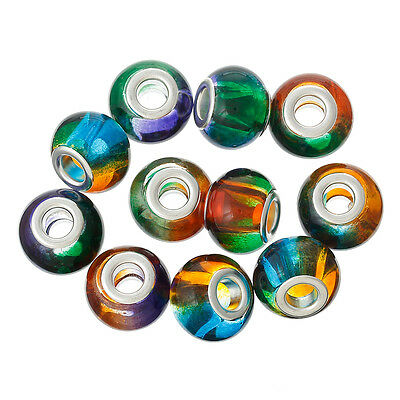 10 Glass European Style Multi Coloured Beads 15mm Large Hole 4.9mm J36618XD • 3.49£