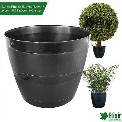 Large Christmas Xmas Tree Black Plastic Barrel Planter Shrub Plant Pot Outdoor • 12.79£