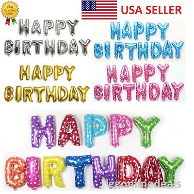 $1.29 • Buy 16  Gloss Large Foil Letter Number Balloons Birthday Wedding Party Decoration