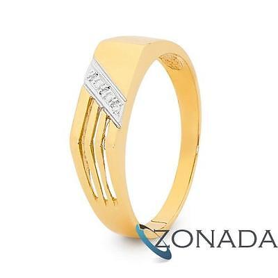 AU709.35 • Buy MENS Diamond 9ct 9k Solid Yellow Gold Band Ring Size U 10.25 22344