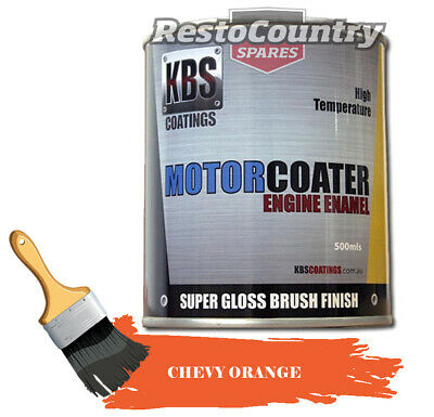 AU74.90 • Buy KBS Motor Coater Engine Enamel 500mls CHEVY ORANGE 1955 Onwards High Temp Paint