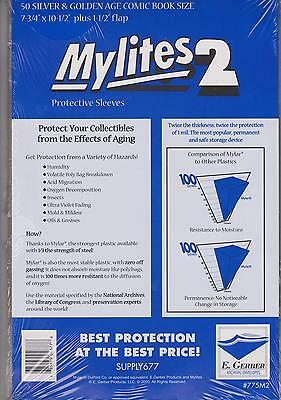 $39.99 • Buy 100 E. Gerber Mylites 2 Mil Mylar Thick Silver Age Comic Book Bags Sleeves 775M2