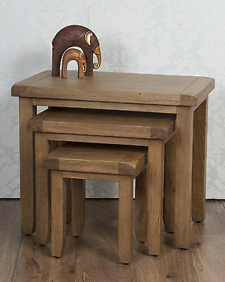 Nest Tables Solid Oak Medium In Chunky Dorset Country • 179£