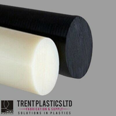 ACETAL & NYLON 66 Rod BLACK NATURAL WHITE 500mm - 3000mm All Diameters Round Bar • 5.07£