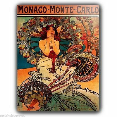 £4.45 • Buy METAL SIGN PLAQUE Alfons Alphonse Mucha MONACO VINTAGE SHABBY CHIC FRENCH Poster