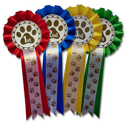 £3.95 • Buy Dog Show Rosettes, Dog Training Rosettes Paw Print 1st, 2nd, 3rd And 4th - PAW1