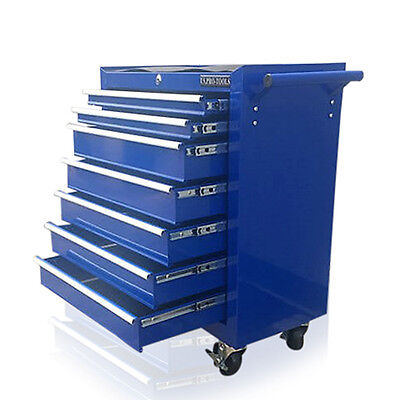 View Details 374 Us Pro Blue Tools Affordable Steel Chest Tool Box Roller Cabinet 7 Drawers • 99.99£