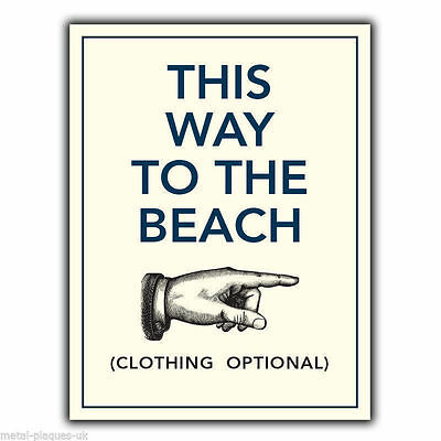 THIS WAY TO THE BEACH METAL SIGN WALL PLAQUE Humorous Funny Poster Print Picture • 4.95£