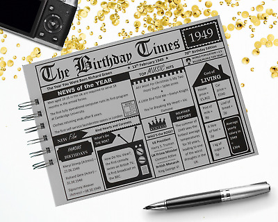 Personalised Birthday NEWSPAPER Guest Book Photo Album 21st 30th 40th 50th 60th  • 12.99£
