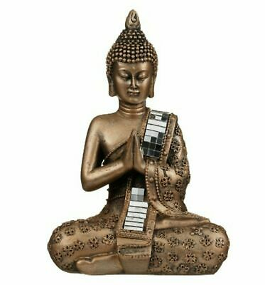 Thai Buddha Bronze Statue Sculpture Figurine Ornament Meditating 22 Cm • 10.99£