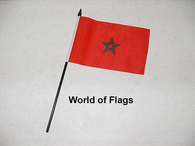 £3.50 • Buy MOROCCO SMALL HAND WAVING FLAG 6  X 4  Moroccan Africa Crafts Table Desk Display