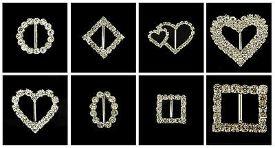 Rectangle Circle Heart Square Diamond Rhinestone Crystal Buckle Ribbon Sliders  • 1.25£