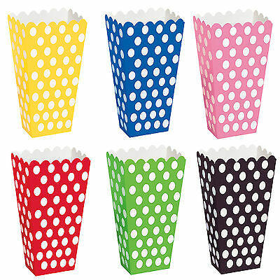 8 Popcorn Treat Polka Dots Spot Style Boxes Favour Party Paper Loot Bags • 1.89£