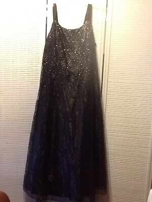"""$30.99 • Buy """"REDUCED""""Onyx Nite By Wendye Chaitin Black Lace Ball Gown Bonded Glitter Size 20"""