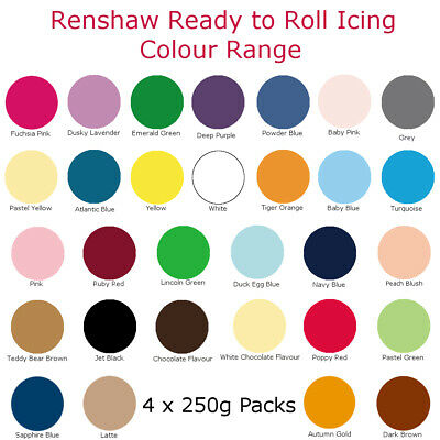 1Kg Renshaw Icing Fondant Colour Ready To Roll Sugarpaste For Cakes 4 X 250g • 7.59£
