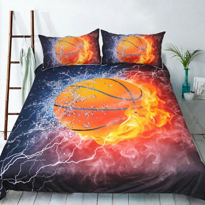 AU29.76 • Buy Fire Basketball Doona Quilt Duvet Cover Set Single Double Queen King Size Bed
