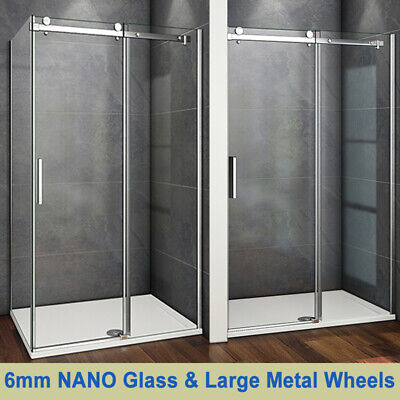 Aica Frameless Sliding Shower Enclosure Door And Tray 1950 Glass Screen Cubicle • 181.99£