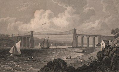 £8.99 • Buy Menai Bridge From The Anglesey Side, Wales, By Henry Gastineau 1835 Old Print