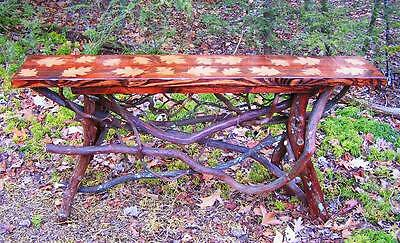 $425 • Buy Rustic Tree Wood Console Sofa Table Log Cabin Gold Leaf Art Furniture FREE S/H