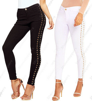 NEW Womens Mid Rise Eyelet Lace Up Skinny Jeans Trouser Ladies Size 6 8 10 12 14 • 18.95£