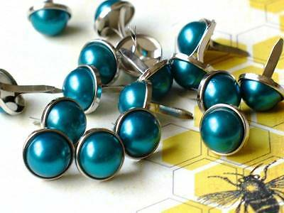 $1.99 • Buy 12mm PEARL BRADS- PEACOCK Silver Trim Scrapbook Turquoise Teal 10pc