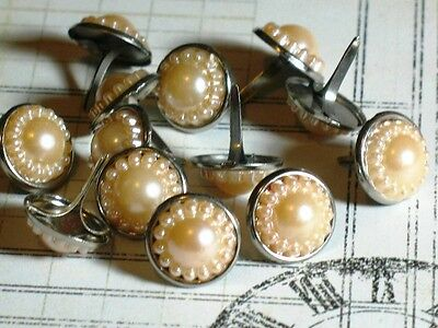 $1.99 • Buy 14mm Vintage PEARL Brads CREAM Beige Scrapbook Wedding Graduation 10pc