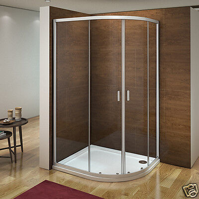 Offset Quadrant Shower Enclosure Walk In Corner Cubicle Glass Screen Tray Waste • 109.90£
