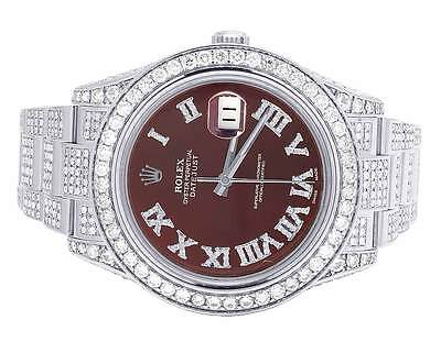 $ CDN25334.57 • Buy Mens Rolex Datejust II Full Iced 41MM 116300 Roman Dial Diamond Watch 18.0 Ct