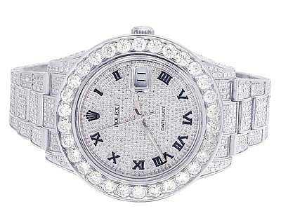 $ CDN25334.57 • Buy Mens Rolex Datejust II 116300 Roman Dial Full Iced 41MM Diamond Watch 18.0 Ct